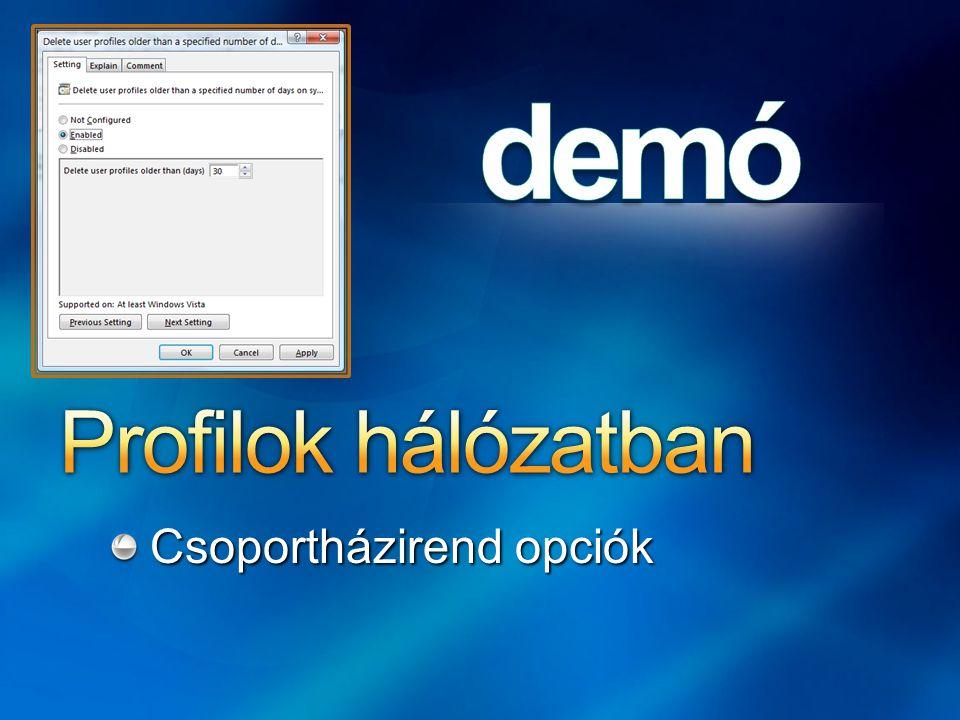A Windows 2000 óta integrált XP: sok javítás Vista – teljesen újraírták Business, Enterprise, Ultimate Hálózati megosztások (SMB) tartalmának elérése kapcsolat nélkül Lokálisan gyorsítótárazza a távoli fájlokat Szimulált, akadálymentes elérés offline állapotban is