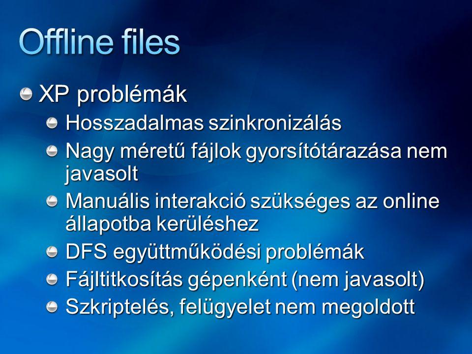 """Vista - automatikus átkapcsolás Online > offline Megosztás, és nem kiszolgáló szinten szakad meg a kapcsolat (DFS<>XP) Offline > online Vista: nem szükséges a beavatkozás W2K / XP: a nyitott fájlokat be kellett zárni az online állapothoz Az offline nyitott fájlok állapota menetközben online-re vált a háttérban Kivétel: ha a szerveren módosul vagy ha más megosztási / együttműködési szemantika nincs Konfliktus esetén a kliens """"nyer"""