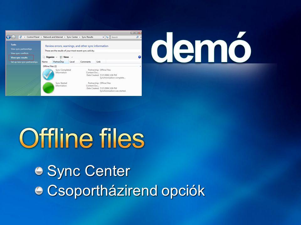 Sync Center Csoportházirend opciók