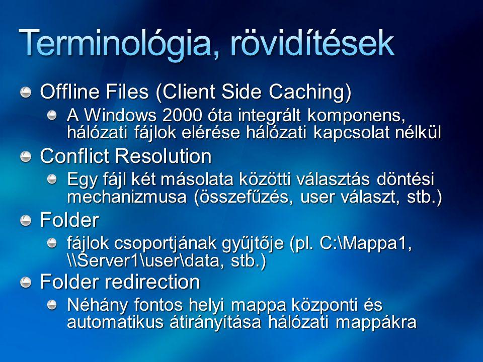 Directory Junctions (soft link) Mappák \ kötetek közötti hivatkozás (hálózati meghajtók: nem) Jó példa: C:\Mappa1 > D:\Mappa2 Rossz példa: C:\Mappa1\fajl1.txt > C:\Mappa2\fajl2.txt Hard link Szintén hivatkozás, de a fájlrendszer szintjén és fájlok között (azonos köteten) Profil Mappa struktúra az OS / alkalmazások számára a felhasználó-specifikus adatok/infók tárolására