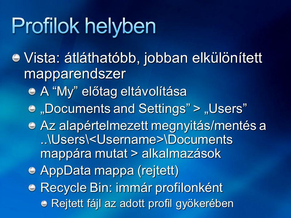 """Soft linkek (dir /ad /asd) Az alkalmazás kompatibilitás miatt Felhasználói: minden profilon belül Rendszer: minden más Documents and Settings, All User, Default User """"Supper Hidden attribútum"""