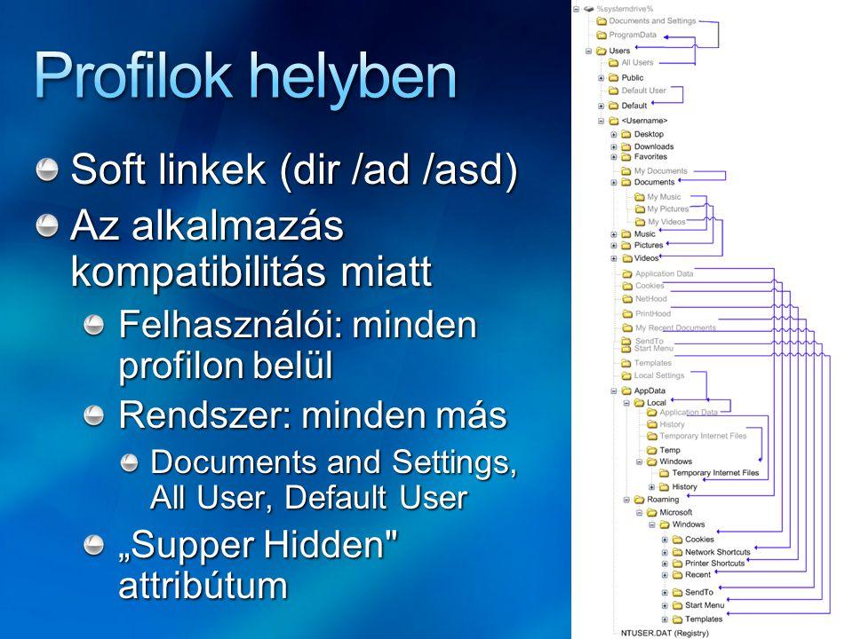"""AppData mappa Local almappa XP: Documents and Settings\ \Local Settings\Application Data mappa Alkalmazás adatok és beállítások, gépfüggő, nem része a vándorló profilnak Roaming almappa Nem gépfüggő, """"vándorló alkalmazás adatok és beállítások, XP-n ugyanaz mint fent LocalLow almappa Alacsony integritási szinten működő alkalmazások """"homokozója"""