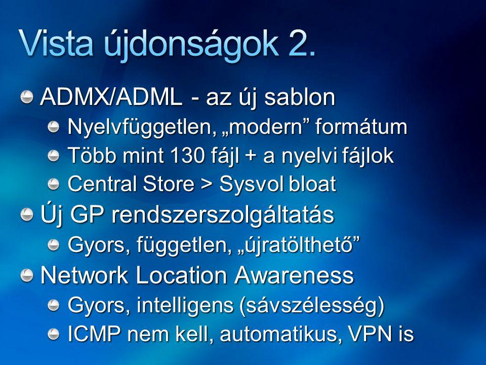 """ADMX/ADML - az új sablon Nyelvfüggetlen, """"modern formátum Több mint 130 fájl + a nyelvi fájlok Central Store > Sysvol bloat Új GP rendszerszolgáltatás Gyors, független, """"újratölthető Network Location Awareness Gyors, intelligens (sávszélesség) ICMP nem kell, automatikus, VPN is"""