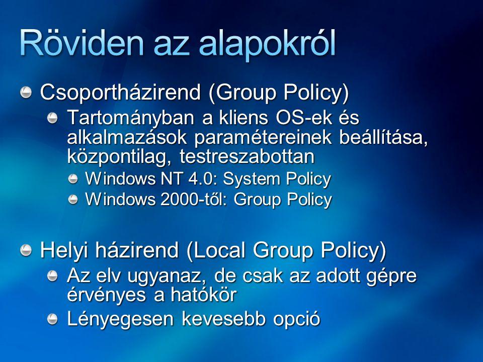 Csoportházirend (Group Policy) Tartományban a kliens OS-ek és alkalmazások paramétereinek beállítása, központilag, testreszabottan Windows NT 4.0: System Policy Windows 2000-től: Group Policy Helyi házirend (Local Group Policy) Az elv ugyanaz, de csak az adott gépre érvényes a hatókör Lényegesen kevesebb opció