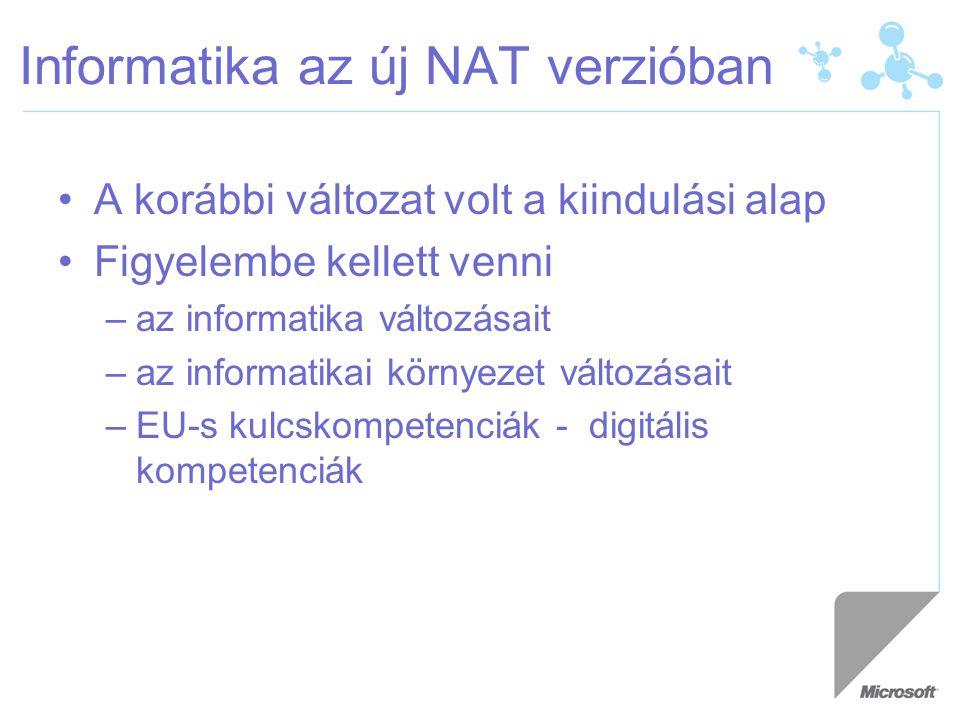 Informatika az új NAT verzióban A korábbi változat volt a kiindulási alap Figyelembe kellett venni –az informatika változásait –az informatikai környezet változásait –EU-s kulcskompetenciák - digitális kompetenciák