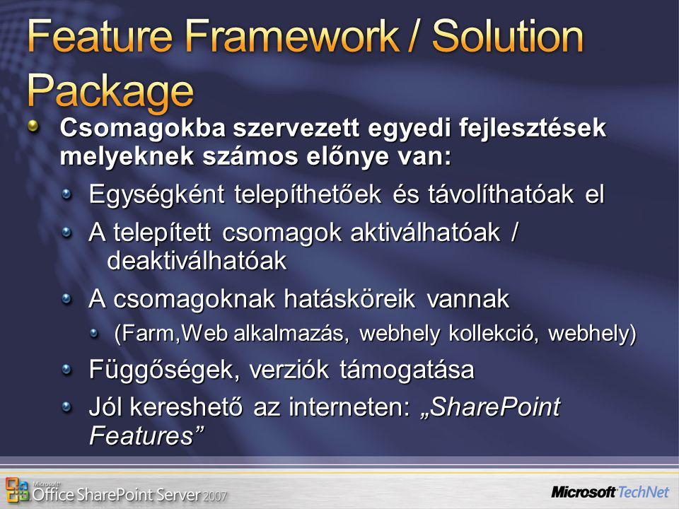 Csomagokba szervezett egyedi fejlesztések melyeknek számos előnye van: Egységként telepíthetőek és távolíthatóak el A telepített csomagok aktiválhatóa