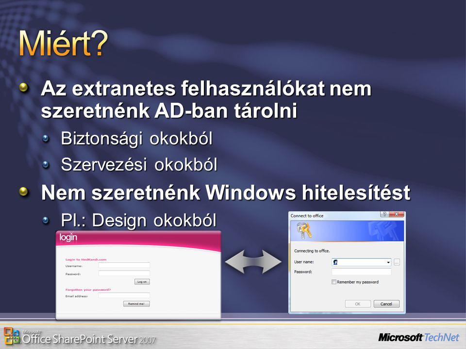 Az extranetes felhasználókat nem szeretnénk AD-ban tárolni Biztonsági okokból Szervezési okokból Nem szeretnénk Windows hitelesítést Pl.: Design okokb