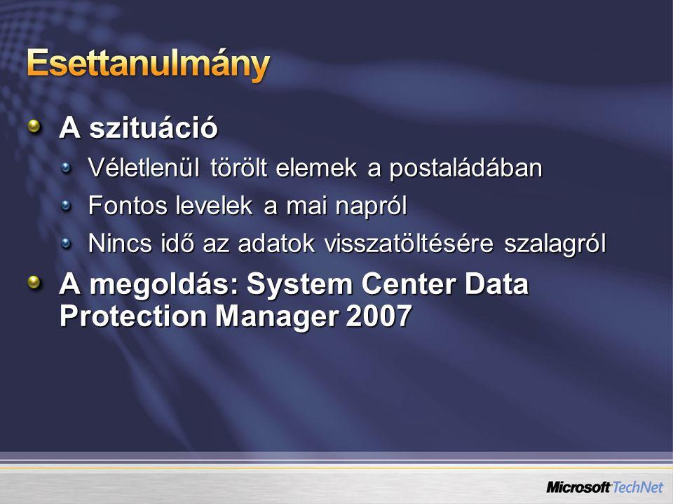 A szituáció Véletlenül törölt elemek a postaládában Fontos levelek a mai napról Nincs idő az adatok visszatöltésére szalagról A megoldás: System Center Data Protection Manager 2007