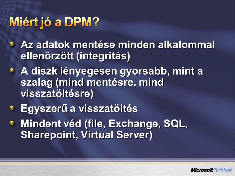 Az adatok mentése minden alkalommal ellenőrzött (integritás) A diszk lényegesen gyorsabb, mint a szalag (mind mentésre, mind visszatöltésre) Egyszerű a visszatöltés Mindent véd (file, Exchange, SQL, Sharepoint, Virtual Server)