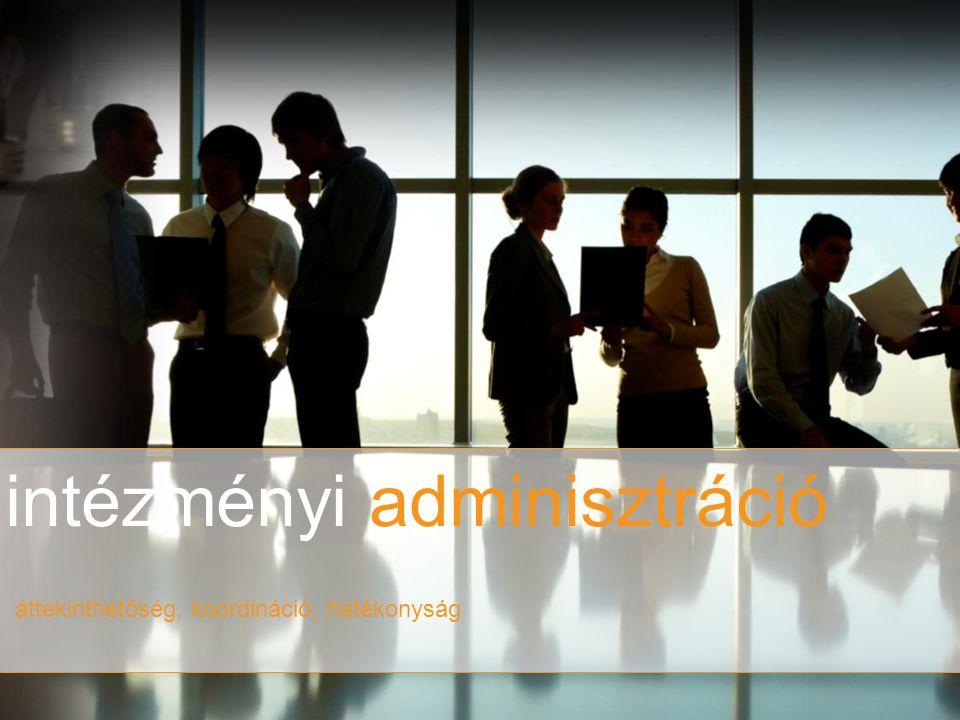 intézményi adminisztráció áttekinthetőség, koordináció, hatékonyság