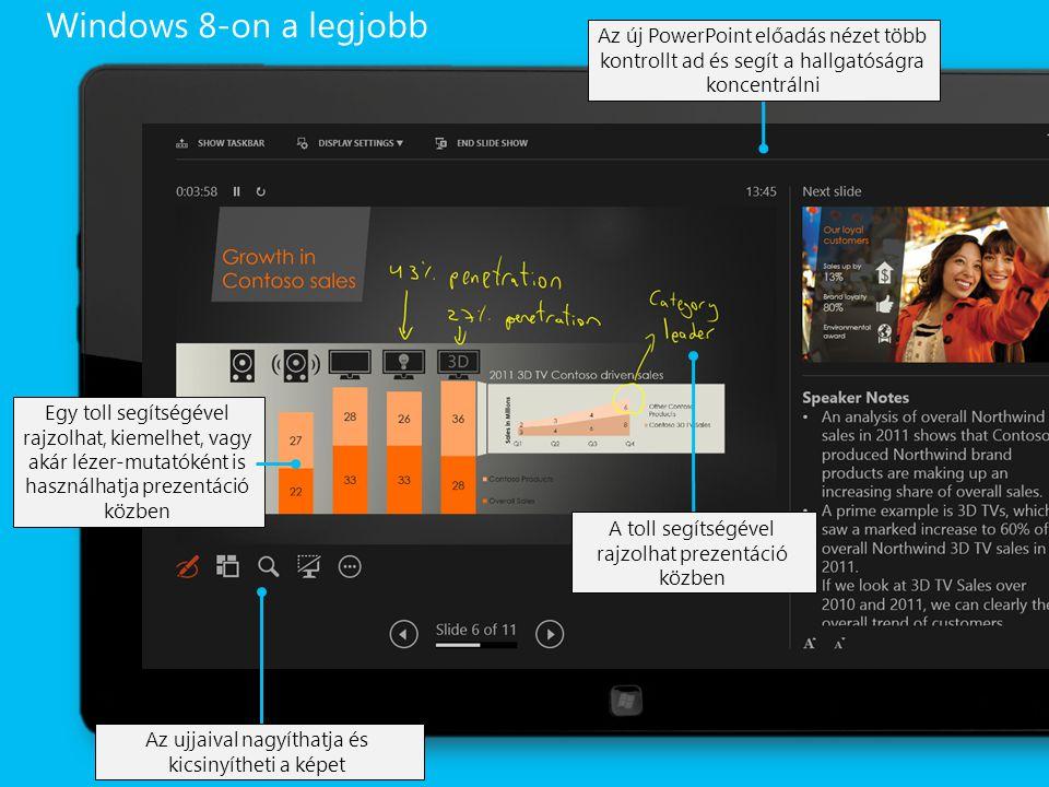 A toll segítségével rajzolhat prezentáció közben Az új PowerPoint előadás nézet több kontrollt ad és segít a hallgatóságra koncentrálni Az ujjaival nagyíthatja és kicsinyítheti a képet Egy toll segítségével rajzolhat, kiemelhet, vagy akár lézer-mutatóként is használhatja prezentáció közben