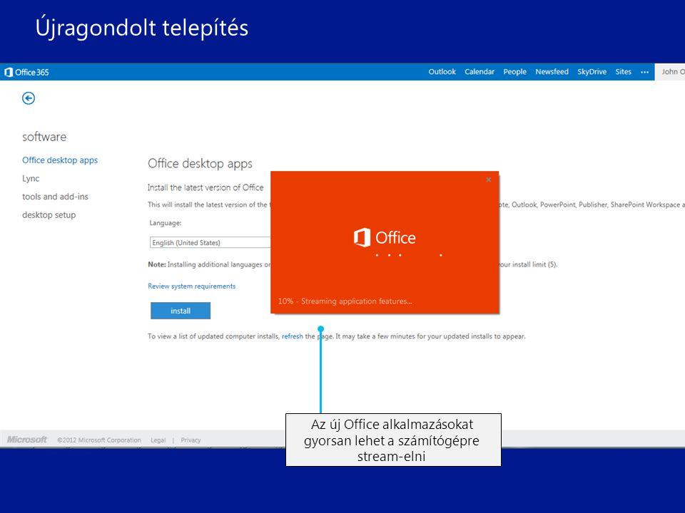 Az Office 365-be belépve egy böngészőből frissítheti a felhasználói profilját és telepítheti a legfrissebb Office alkalmazásokat A nyelv kiválasztása után már indulhat is az új Office alkalmazások telepítése Az új Office alkalmazásokat gyorsan lehet a számítógépre stream-elni