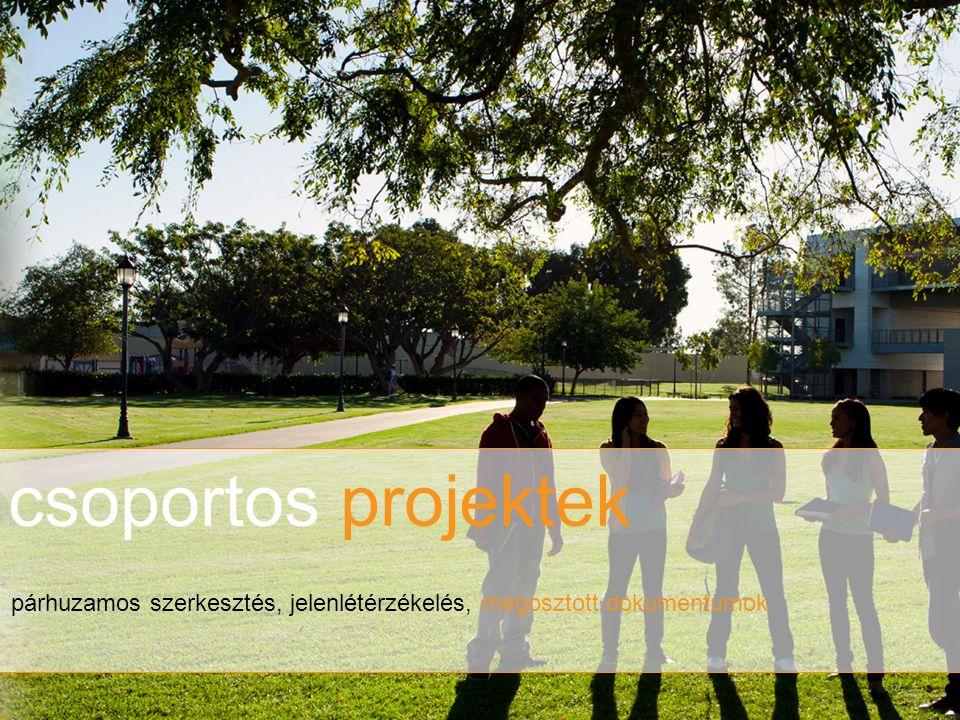 csoportos projektek párhuzamos szerkesztés, jelenlétérzékelés, megosztott dokumentumok