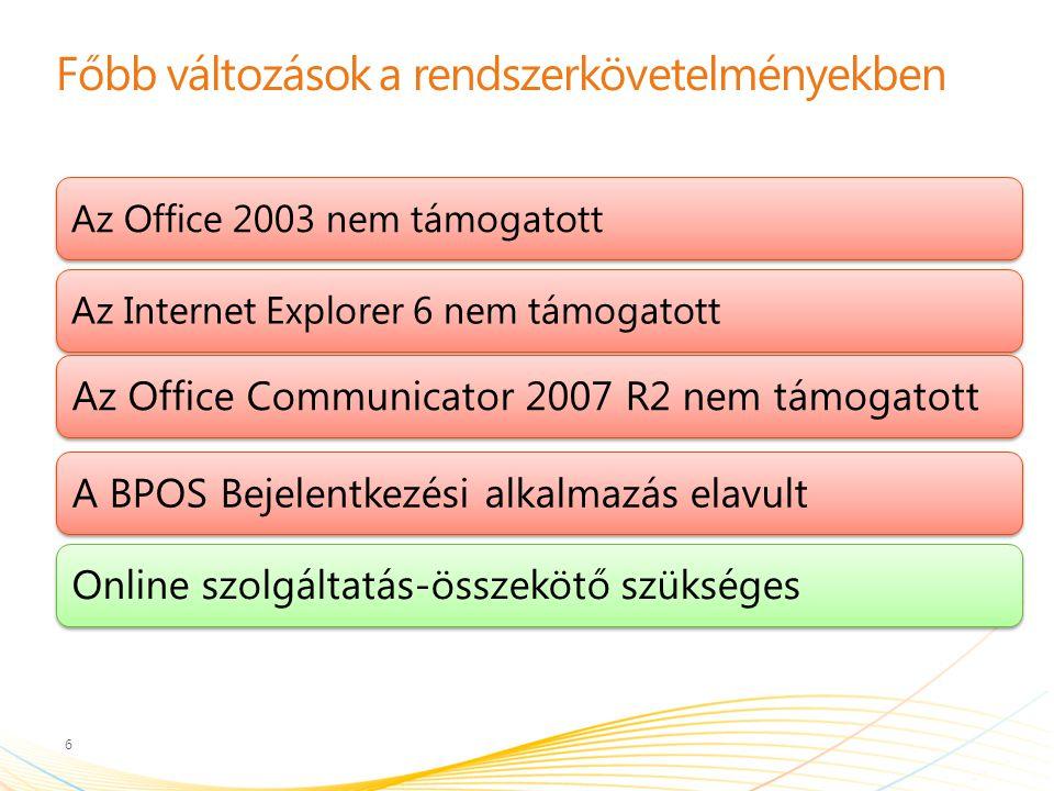 Főbb változások a rendszerkövetelményekben 6 Az Office 2003 nem támogatottAz Internet Explorer 6 nem támogatott Az Office Communicator 2007 R2 nem támogatottA BPOS Bejelentkezési alkalmazás elavultOnline szolgáltatás-összekötő szükséges