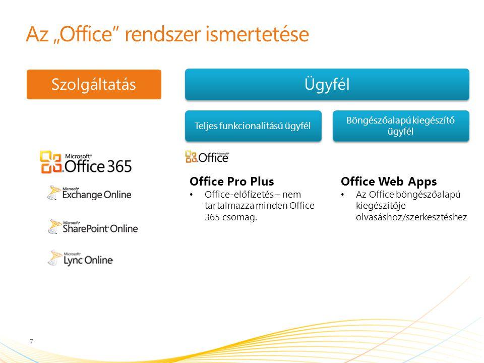 """Az """"Office rendszer ismertetése 7 SzolgáltatásÜgyfél Teljes funkcionalitású ügyfél Böngészőalapú kiegészítő ügyfél Office Web Apps Az Office böngészőalapú kiegészítője olvasáshoz/szerkesztéshez Office Pro Plus Office-előfizetés – nem tartalmazza minden Office 365 csomag."""