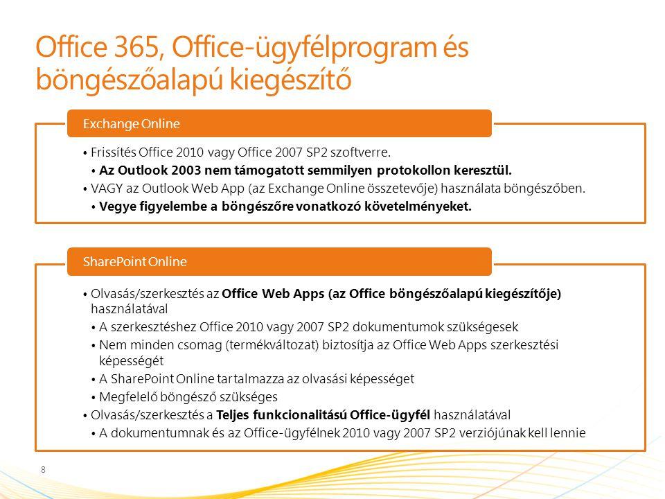 Office 365, Office-ügyfélprogram és böngészőalapú kiegészítő Frissítés Office 2010 vagy Office 2007 SP2 szoftverre.