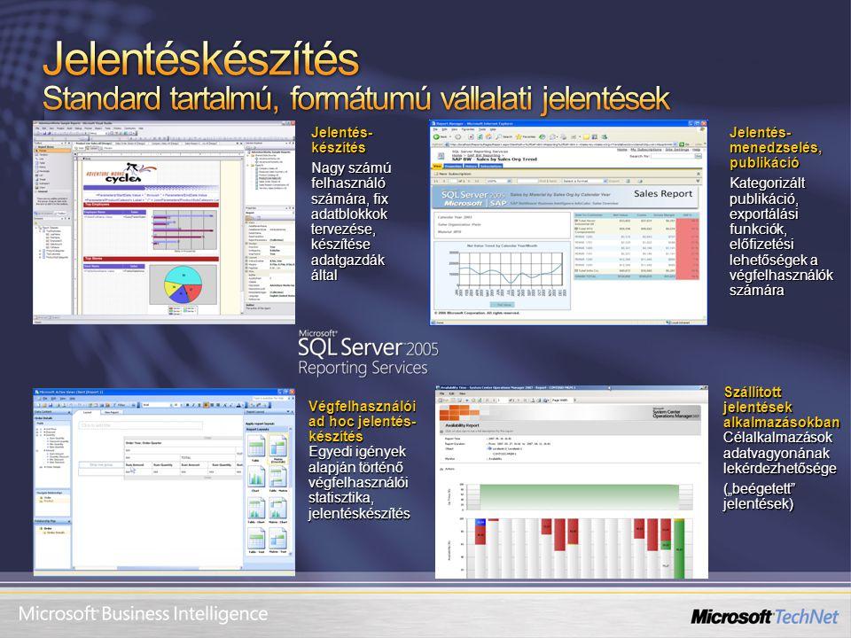 Jelentés- készítés Nagy számú felhasználó számára, fix adatblokkok tervezése, készítése adatgazdák által Jelentés- menedzselés, publikáció Kategorizál