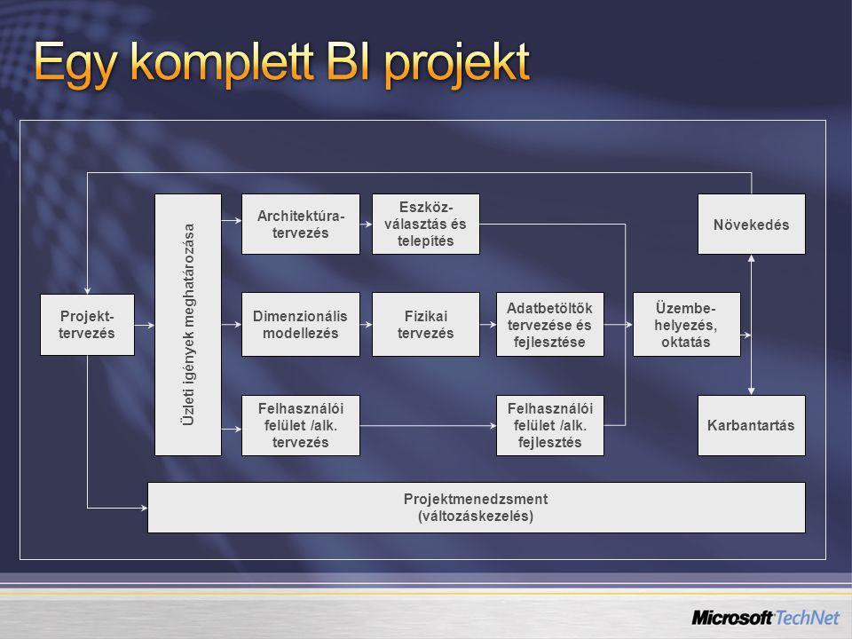 Projekt- tervezés Projektmenedzsment (változáskezelés) Üzleti igények meghatározása Architektúra- tervezés Eszköz- választás és telepítés Fizikai terv