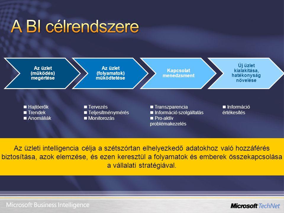 Az üzlet (működés) megértése Az üzlet (folyamatok) működtetése Kapcsolat menedzsment Új üzlet kialakítása, hatékonyság növelése Hajtóerők Trendek Anom