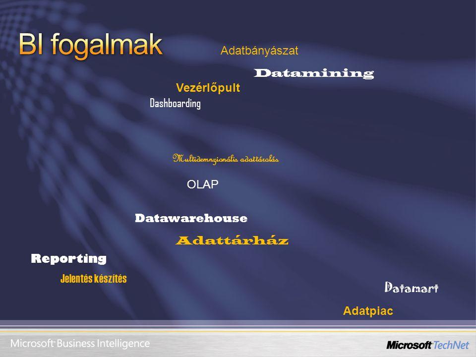 OLAP Datawarehouse Datamart Datamining Reporting Dashboarding Adatbányászat Multidemnzionális adattárolás Jelentés készítés Adatpiac Adattárház Vezérl