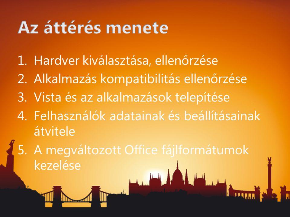 Open XML formátum Új dokumentumok elérése Office 2003-ból –Import filter letölthető http://office.microsoft.com/en-us/products/ HA101686761033.aspxhttp://office.microsoft.com/en-us/products/ HA101686761033.aspx Meglévő dokumentumok tömeges konvertálása új formátumra –Office 2007 Migration Planning Manager Része a batch fájl konverter eszköz http://go.microsoft.com/fwlink?linkid=75727