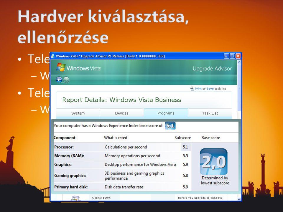Application Compatibility Toolkit 5.0 –Kompatibilitás ellenőrzése Vista telepítés nélkül –Biztonsági javítások hatása az alkalmazásokra –User Account Control (UAC) mellékhatásainak vizsgálata –Internet Explorer 7 kompatibilitási vizsgálat –Vista kompatibilitási vizsgálat (bejelentkezés, rendszer közeli szolgáltatások stb.) –Online közösség és adatbázis Microsoft Compatibility Exchange