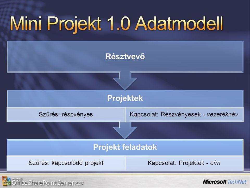 Projekt feladatok Szűrés: kapcsolódó projektKapcsolat: Projektek - cím Projektek Szűrés: részvényesKapcsolat: Részvényesek - vezetéknév Résztvevő