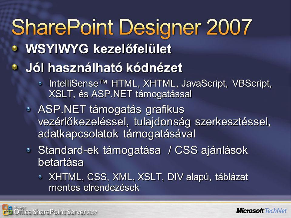 WSYIWYG kezelőfelület Jól használható kódnézet IntelliSense™ HTML, XHTML, JavaScript, VBScript, XSLT, és ASP.NET támogatással ASP.NET támogatás grafik