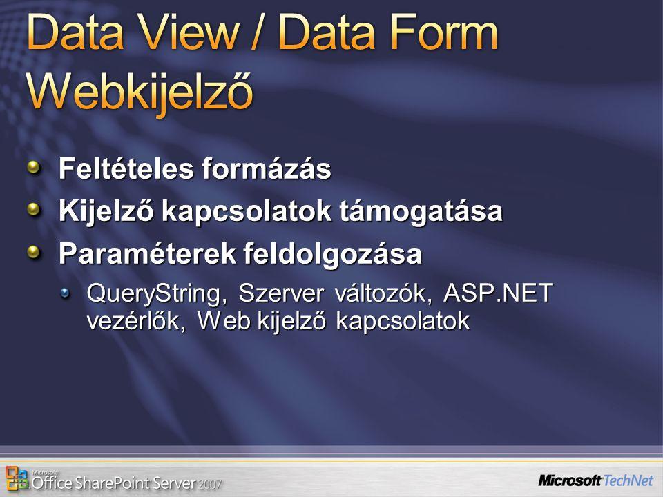 Feltételes formázás Kijelző kapcsolatok támogatása Paraméterek feldolgozása QueryString, Szerver változók, ASP.NET vezérlők, Web kijelző kapcsolatok