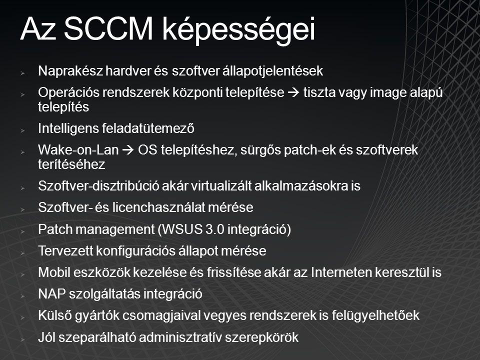 Az SCCM képességei  Naprakész hardver és szoftver állapotjelentések  Operációs rendszerek központi telepítése  tiszta vagy image alapú telepítés 