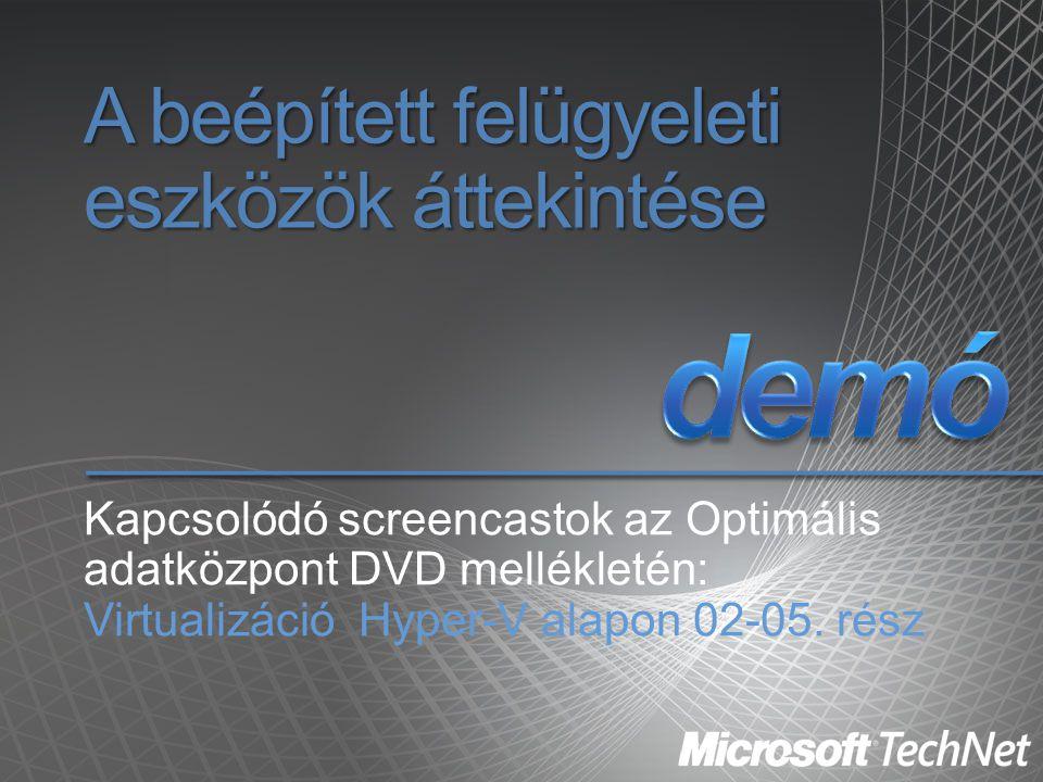 A beépített felügyeleti eszközök áttekintése Kapcsolódó screencastok az Optimális adatközpont DVD mellékletén: Virtualizáció Hyper-V alapon 02-05. rés