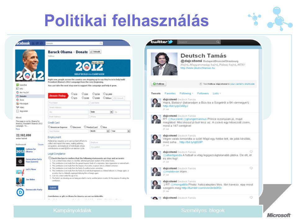 Politikai felhasználás KampányoldalakSzemélyes blogok