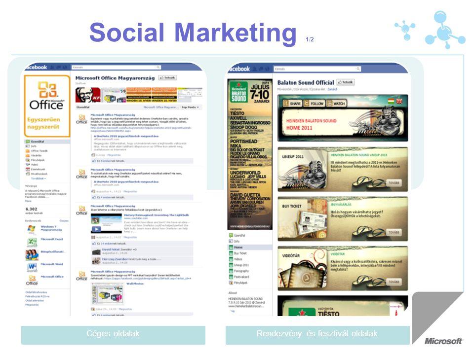 Social Marketing 1/2 Céges oldalakRendezvény és fesztivál oldalak