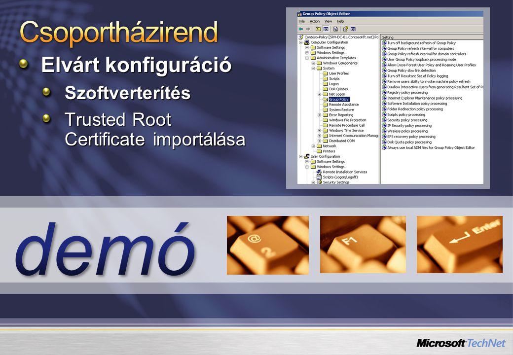 Elvárt konfiguráció Szoftverterítés Trusted Root Certificate importálása