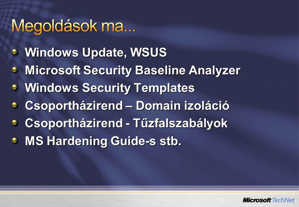 Windows Update, WSUS Microsoft Security Baseline Analyzer Windows Security Templates Csoportházirend – Domain izoláció Csoportházirend - Tűzfalszabályok MS Hardening Guide-s stb.