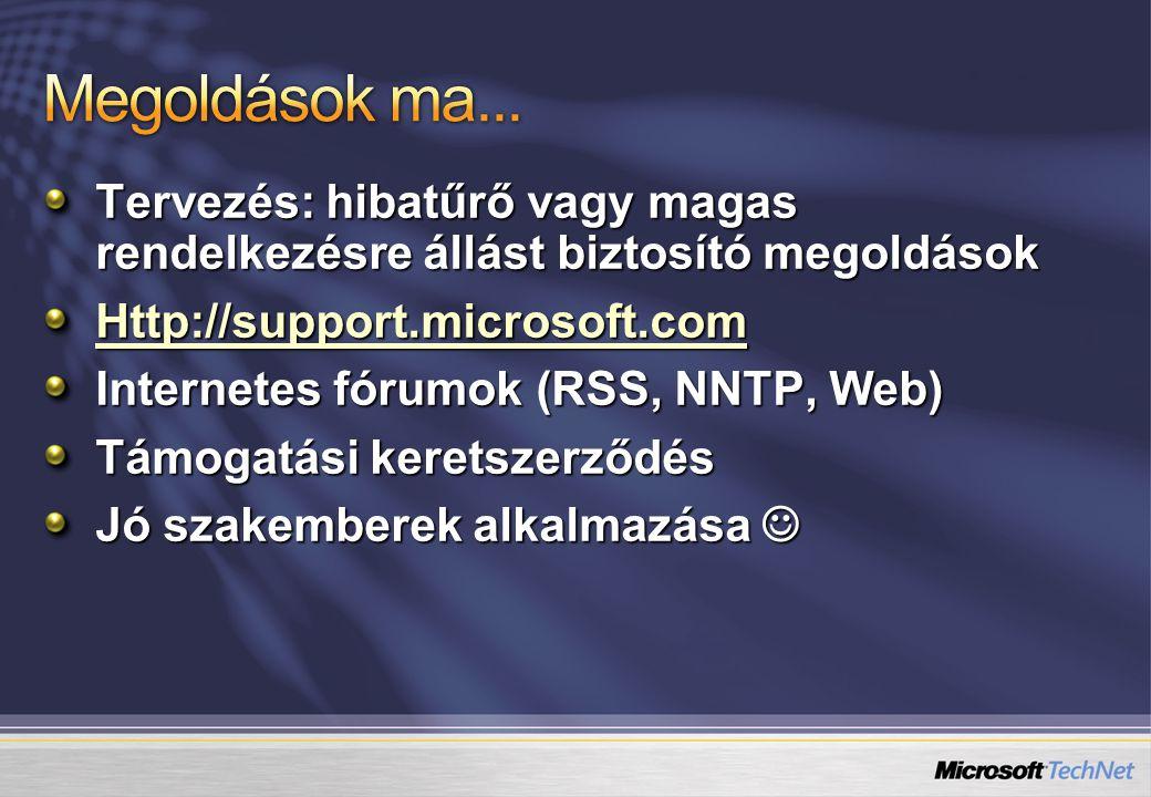 Tervezés: hibatűrő vagy magas rendelkezésre állást biztosító megoldások Http://support.microsoft.com Internetes fórumok (RSS, NNTP, Web) Támogatási keretszerződés Jó szakemberek alkalmazása Jó szakemberek alkalmazása