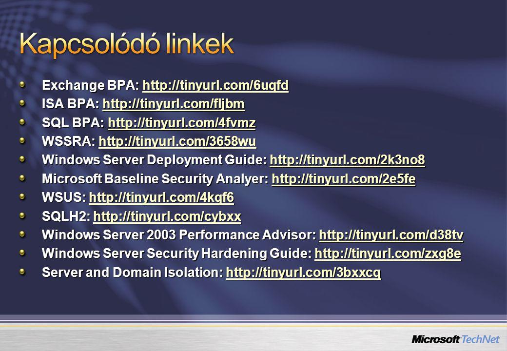 Exchange BPA: http://tinyurl.com/6uqfd http://tinyurl.com/6uqfd ISA BPA: http://tinyurl.com/fljbm http://tinyurl.com/fljbm SQL BPA: http://tinyurl.com/4fvmz http://tinyurl.com/4fvmz WSSRA: http://tinyurl.com/3658wu http://tinyurl.com/3658wu Windows Server Deployment Guide: http://tinyurl.com/2k3no8 http://tinyurl.com/2k3no8 Microsoft Baseline Security Analyer: http://tinyurl.com/2e5fe http://tinyurl.com/2e5fe WSUS: http://tinyurl.com/4kqf6 http://tinyurl.com/4kqf6 SQLH2: http://tinyurl.com/cybxx http://tinyurl.com/cybxx Windows Server 2003 Performance Advisor: http://tinyurl.com/d38tv http://tinyurl.com/d38tv Windows Server Security Hardening Guide: http://tinyurl.com/zxg8e http://tinyurl.com/zxg8e Server and Domain Isolation: http://tinyurl.com/3bxxcq http://tinyurl.com/3bxxcq
