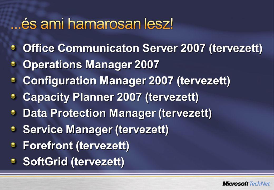 Office Communicaton Server 2007 (tervezett) Operations Manager 2007 Configuration Manager 2007 (tervezett) Capacity Planner 2007 (tervezett) Data Protection Manager (tervezett) Service Manager (tervezett) Forefront (tervezett) SoftGrid (tervezett)