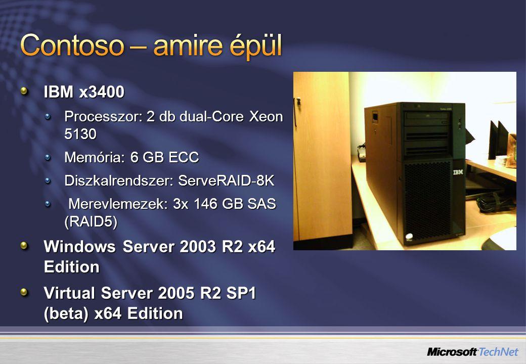 IBM x3400 Processzor: 2 db dual-Core Xeon 5130 Memória: 6 GB ECC Diszkalrendszer: ServeRAID-8K Merevlemezek: 3x 146 GB SAS (RAID5) Merevlemezek: 3x 146 GB SAS (RAID5) Windows Server 2003 R2 x64 Edition Virtual Server 2005 R2 SP1 (beta) x64 Edition