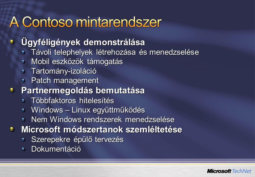 Ügyféligények demonstrálása Távoli telephelyek létrehozása és menedzselése Mobil eszközök támogatás Tartomány-izoláció Patch management Partnermegoldás bemutatása Többfaktoros hitelesítés Windows – Linux együttműködés Nem Windows rendszerek menedzselése Microsoft módszertanok szemléltetése Szerepekre épülő tervezés Dokumentáció
