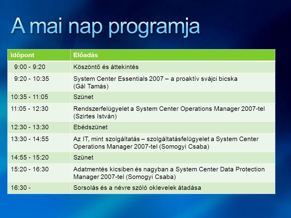 IdőpontElőadás 9:00 - 9:20Köszöntő és áttekintés 9:20 - 10:35System Center Essentials 2007 – a proaktív svájci bicska (Gál Tamás) 10:35 - 11:05Szünet 11:05 - 12:30Rendszerfelügyelet a System Center Operations Manager 2007-tel (Szirtes István) 12:30 - 13:30Ebédszünet 13:30 - 14:55Az IT, mint szolgáltatás – szolgáltatásfelügyelet a System Center Operations Manager 2007-tel (Somogyi Csaba) 14:55 - 15:20Szünet 15:20 - 16:30Adatmentés kicsiben és nagyban a System Center Data Protection Manager 2007-tel (Somogyi Csaba) 16:30 -Sorsolás és a névre szóló oklevelek átadása