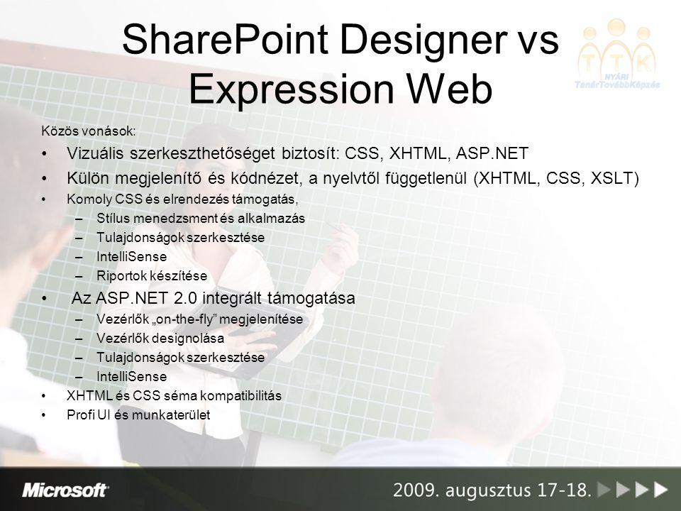 SharePoint Designer vs Expression Web Közös vonások: Vizuális szerkeszthetőséget biztosít: CSS, XHTML, ASP.NET Külön megjelenítő és kódnézet, a nyelvt