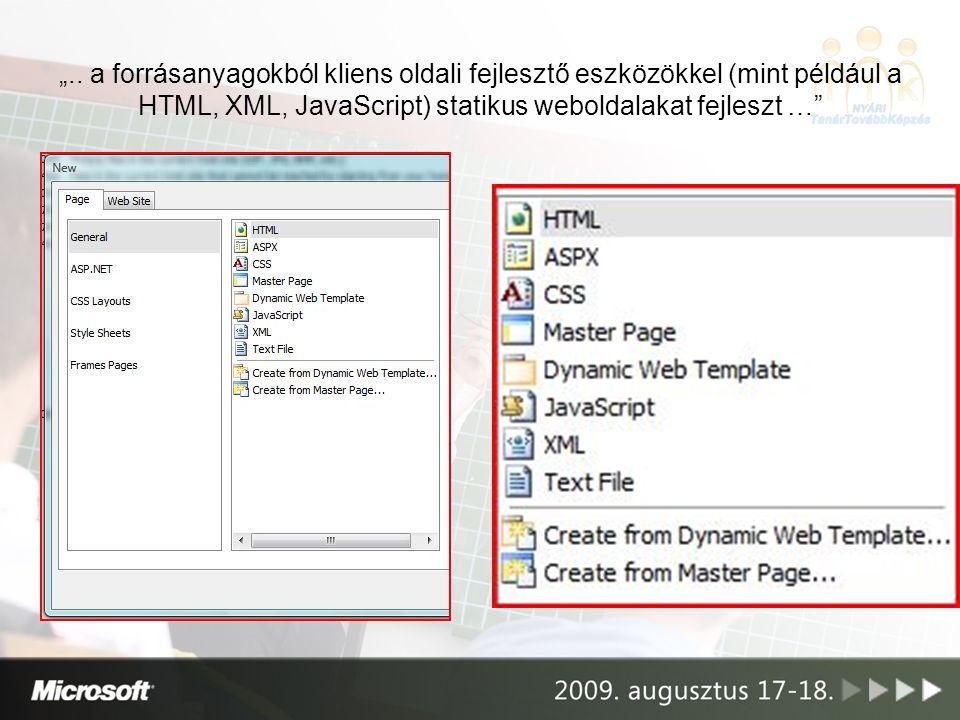 """"""".. a forrásanyagokból kliens oldali fejlesztő eszközökkel (mint például a HTML, XML, JavaScript) statikus weboldalakat fejleszt …"""""""