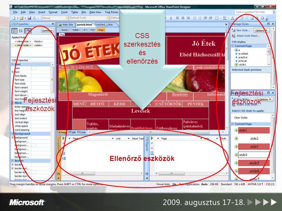 Ellenőrző eszközök Fejlesztési eszközök CSS szerkesztés és ellenőrzés