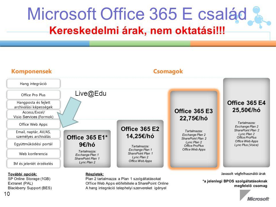 Microsoft Office 365 E család Kereskedelmi árak, nem oktatási!!! 10 Live@Edu