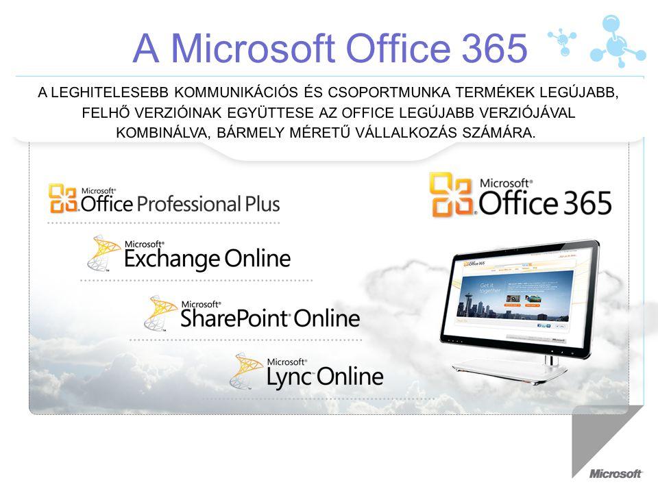 A Microsoft Office 365 A LEGHITELESEBB KOMMUNIKÁCIÓS ÉS CSOPORTMUNKA TERMÉKEK LEGÚJABB, FELHŐ VERZIÓINAK EGYÜTTESE AZ OFFICE LEGÚJABB VERZIÓJÁVAL KOMBINÁLVA, BÁRMELY MÉRETŰ VÁLLALKOZÁS SZÁMÁRA.