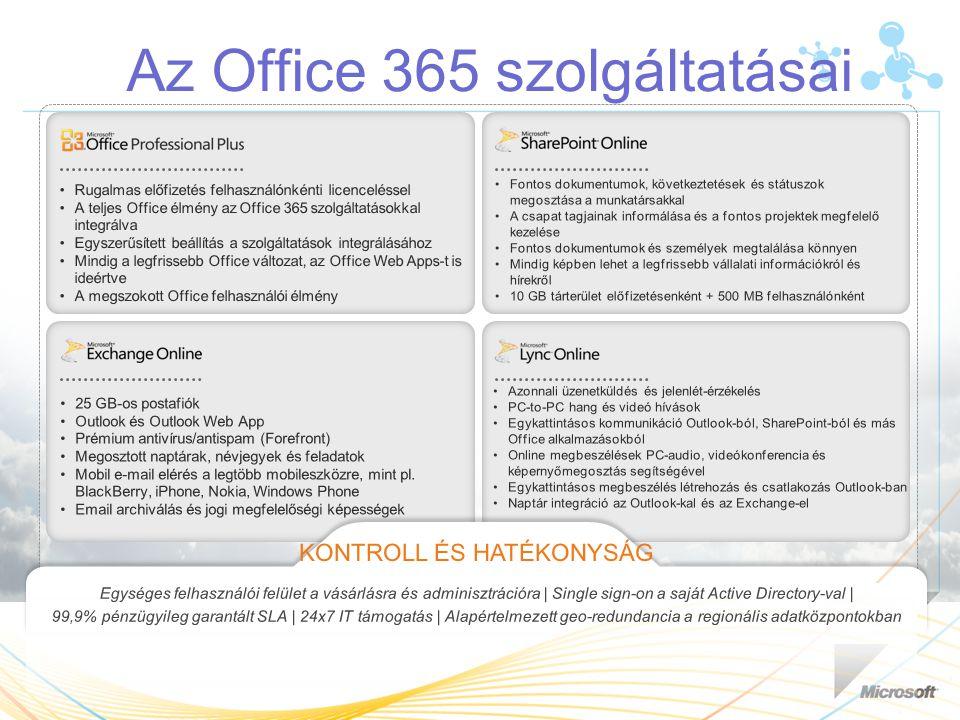 Az Office 365 szolgáltatásai Fontos dokumentumok, következtetések és státuszok megosztása a munkatársakkal A csapat tagjainak informálása és a fontos projektek megfelelő kezelése Fontos dokumentumok és személyek megtalálása könnyen Mindig képben lehet a legfrissebb vállalati információkról és hírekről 10 GB tárterület előfizetésenként + 500 MB felhasználónként 25 GB-os postafiók Outlook és Outlook Web App Prémium antivírus/antispam (Forefront) Megosztott naptárak, névjegyek és feladatok Mobil e-mail elérés a legtöbb mobileszközre, mint pl.
