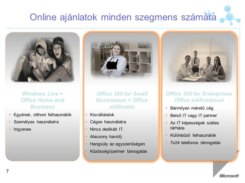 Office 365 P1 - a kisvállalatok és a profik számára 8 Exchange Email, Naptár, Kontaktok és személyes archiválás 25 GB Mailbox ActiveSync Mobilkészülékek támogatása SharePoint Team Sites 1 Office Web Apps Egyszerű publikus weboldal 2 Online Access adatbázisok Lync kliens Online találkozók 3 Desktop megosztás Több résztvevős IM és IP alapú hívás Ön- és közösségi támogatás KULCS KÉPESSÉGEK 1 Egy site gyűjtemény, max 50 authentikált külső felhasználó havonta 2 Kész minták alapján, saját domain név alatti opcióval.