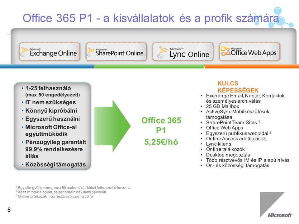 Felhasználói szegmens: K család 500 MB mailbox Nincs SharePoint tárhely allokáció Outlook Web Access (teljes OWA) POP támogatás Levelezés, naptár, kontaktok Anti-Virus / Anti-Spam Keresési lehetőség a Sharepoint oldalakon Office Web Apps Microsoft Office 365 E család (Enterprise) Felhasználói szegmentálás: a megfelelő funkciót a megfelelő felhasználónak 9 Gazdag funkcionalitású ajánlat azoknak, akik számára teljes kommunikációs és csoportmunka megoldást akarnak biztosítani Alacsony árú ajánlat azon dolgozók számára, akiknek ma nincs kommunikációs és csoportmunka megoldás biztosítva Felhasználói szegmens: E család 25GB mailbox 500MB SharePoint tárhely Teljes kliens csatlakoztathatóság (MAPI/IMAP) Mobil elérés Lync (valós idejű kommunikáció) Több Exchange & SharePoint képesség Office Professional Plus Telephelyi szerverek elérésének joga Lényegi különbségek
