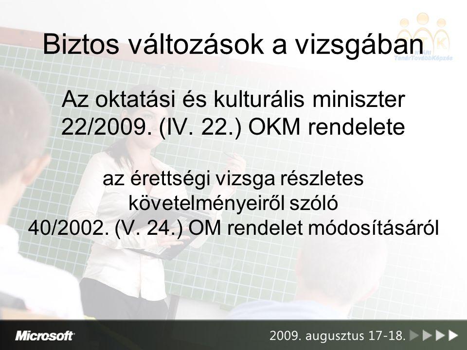 Biztos változások a vizsgában Az oktatási és kulturális miniszter 22/2009.